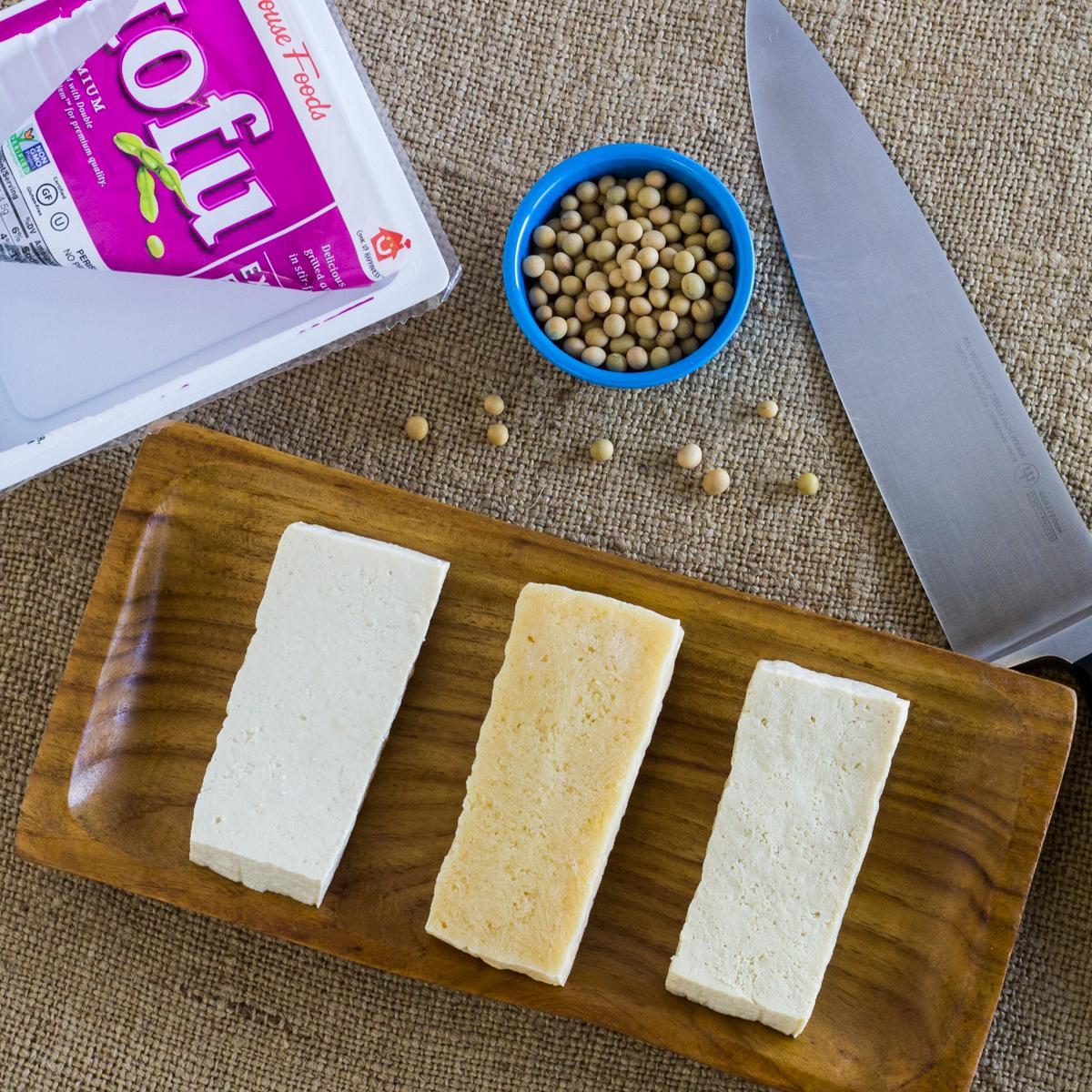 Three Slices Of Tofu Fresh Frozen Thawed